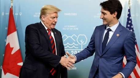 President Donald Trump meets with Canadian Prime Minister