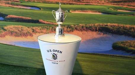 The U.S. Open Trophy on display in the