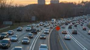 Traffic builds on the Long Island Expressway near