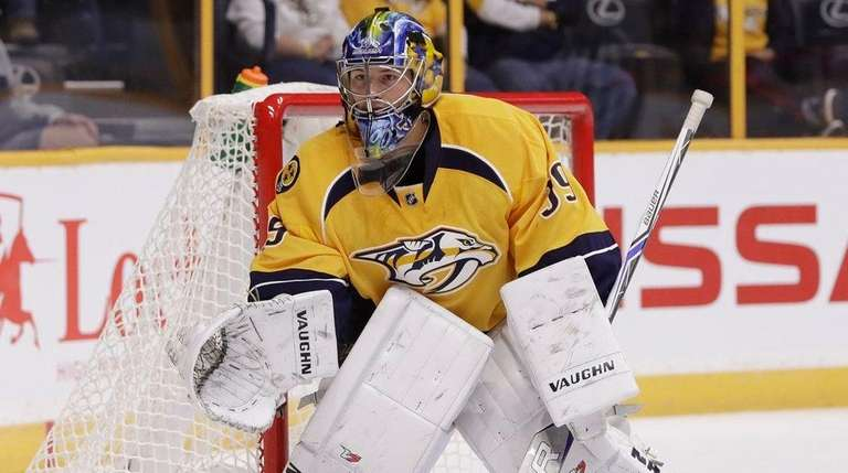 Predators goalie Marek Mazanec plays against the Lightning
