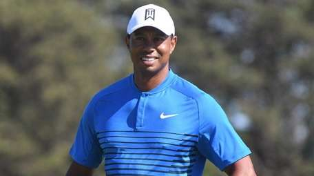 Tiger Woods on the course during a practice