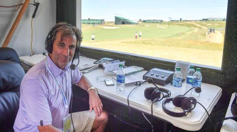 Radio personality Chris Russo broadcasts his SiriusXM radio