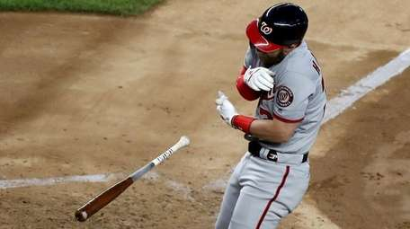 Nationals outfielder Bryce Harper is hit by a