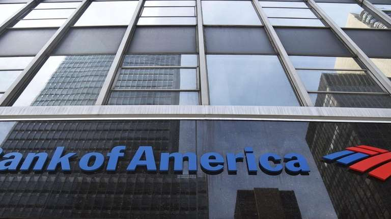 A sign for Bank of America is seen