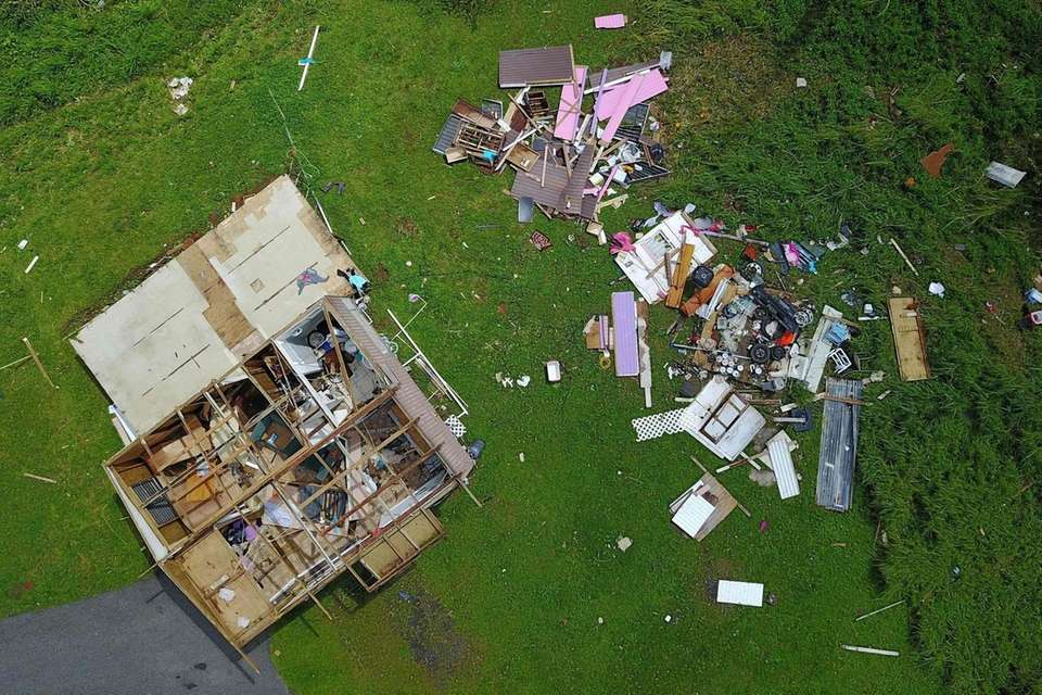 TOPSHOT - A house destroyed by hurricane winds