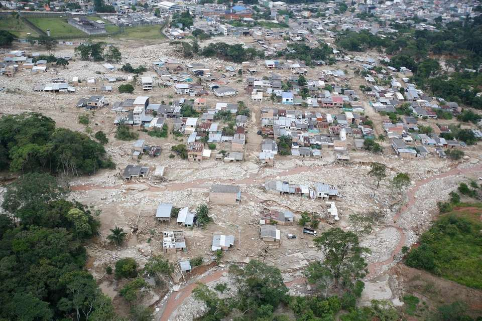 Hundredes of destroyed homes are seen from the