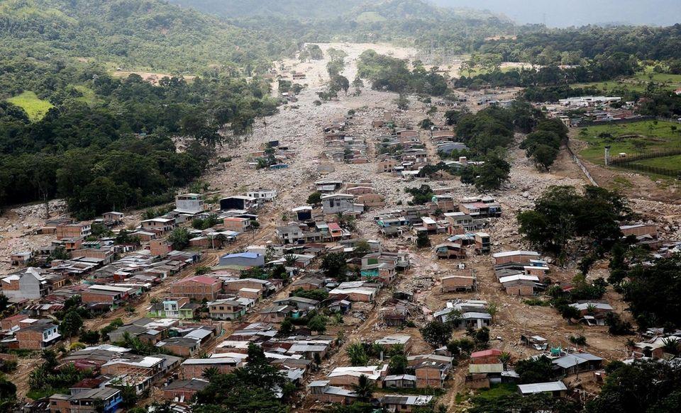 epa05888729 An aerial views shows the devastation in