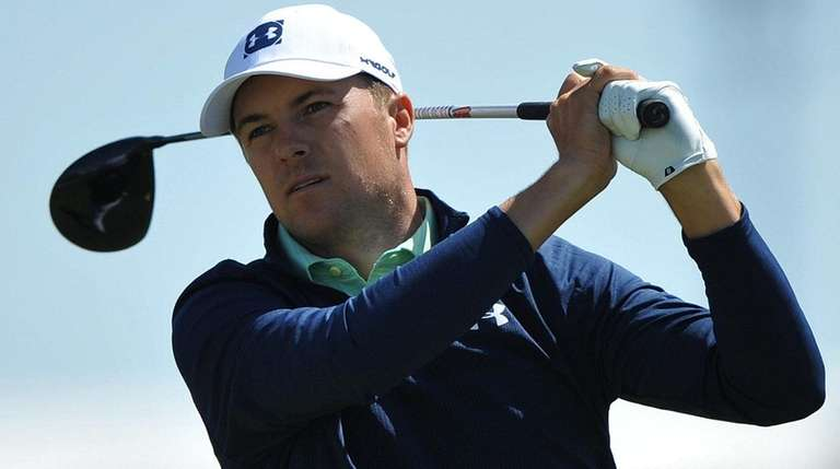 Jordan Spieth tees off from the fifth hole