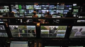The control room inside the FOX Sports production