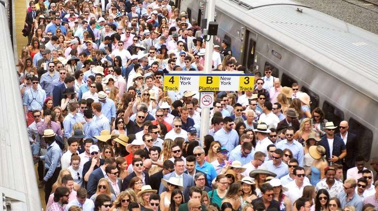 LIRR commuters flock to Belmont Park for the