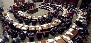The New York State Senate chamber in the