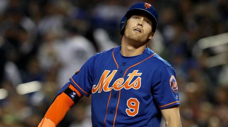 Brandon Nimmo of the Mets reacts after a