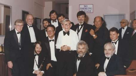 George Burns backstage with The Concord Orchestra after
