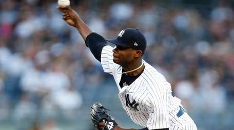 Yankees pitcher Domingo German throws during Thursday's game