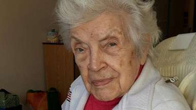 Elsie Hunter, last year, on her 102nd birthday.