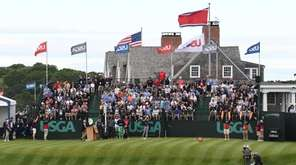 Dustin Johnson tees off on 10 during the