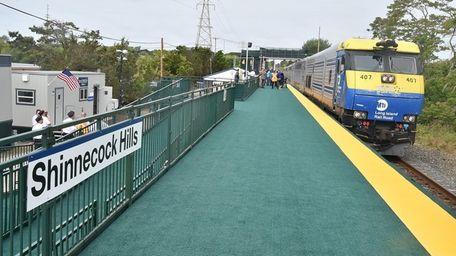 A LIRR train pulls into the temporary Shinnecock