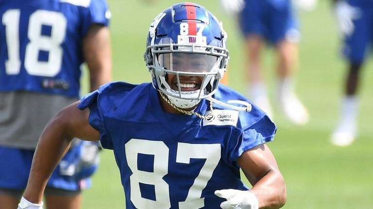 Giants wide receiver Sterling Shepard runs a route