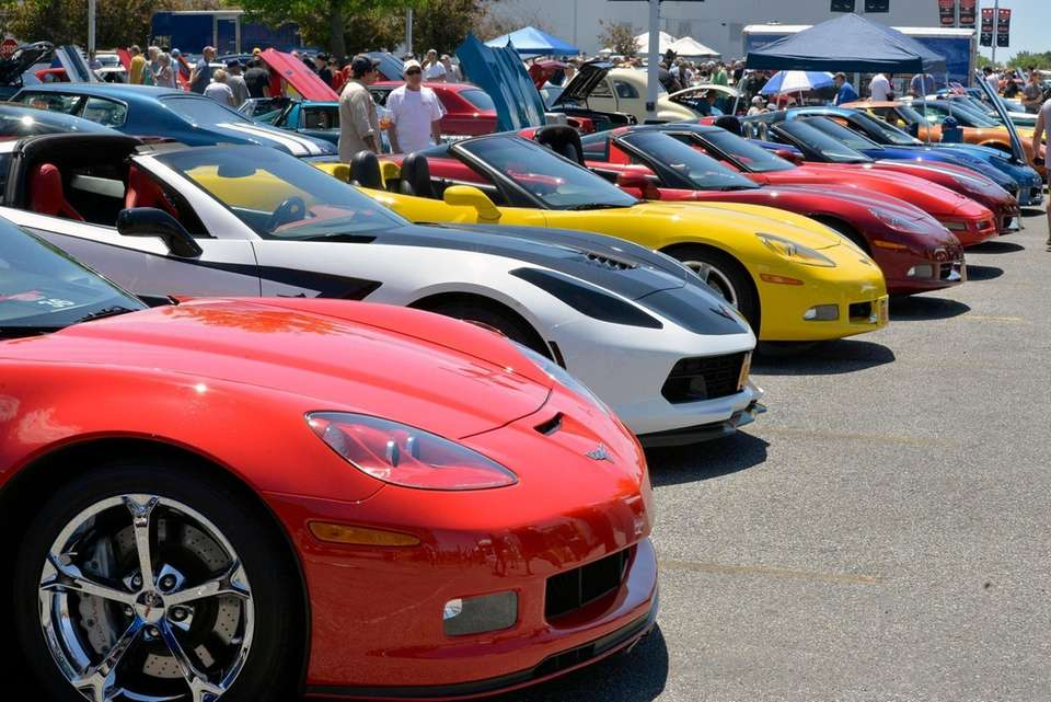 Corvettes on the concrete at the Field of