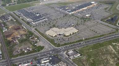 Aerial view of East Farmingdale, looking east, with
