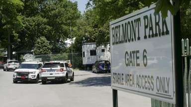 Nassau police officers stationed at Belmont Park on
