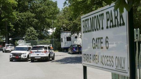 Nassau police officers stationed at Belmont Park on