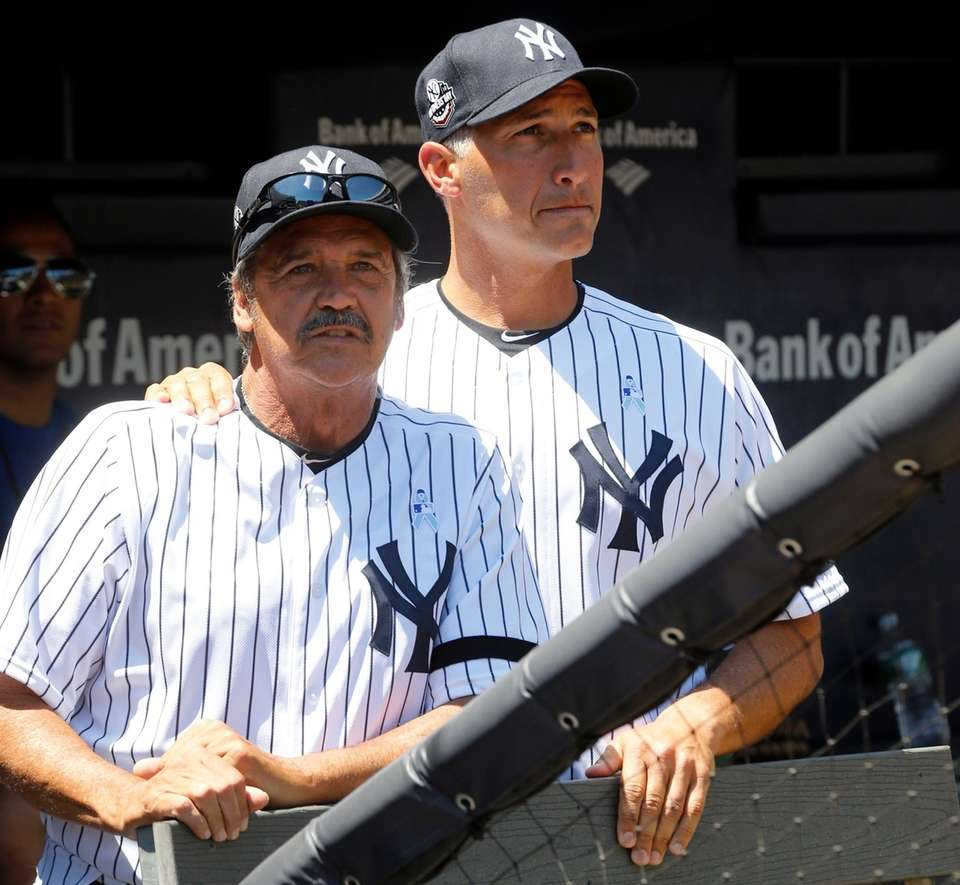 Ron Guidry and Andy Pettitte during Old-Timers' Day