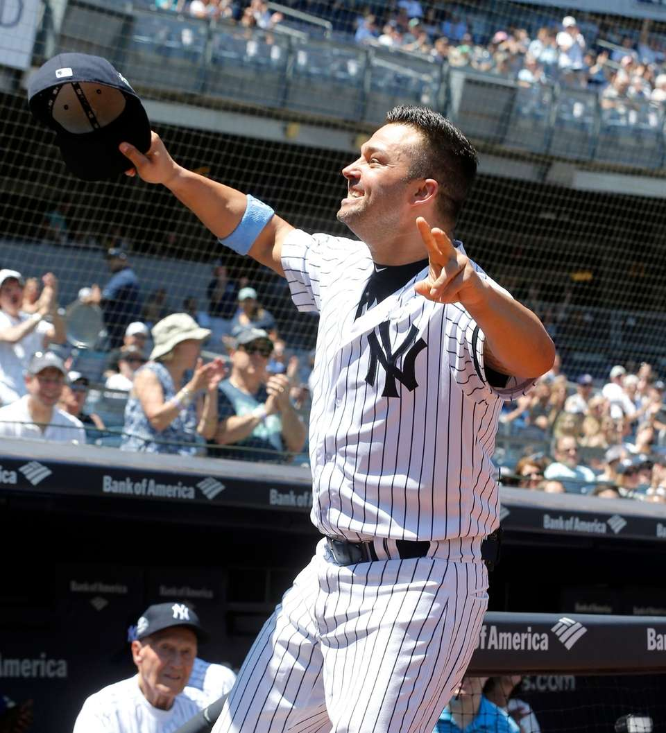 Nick Swisher during Old-Timers' Day at Yankee Stadium