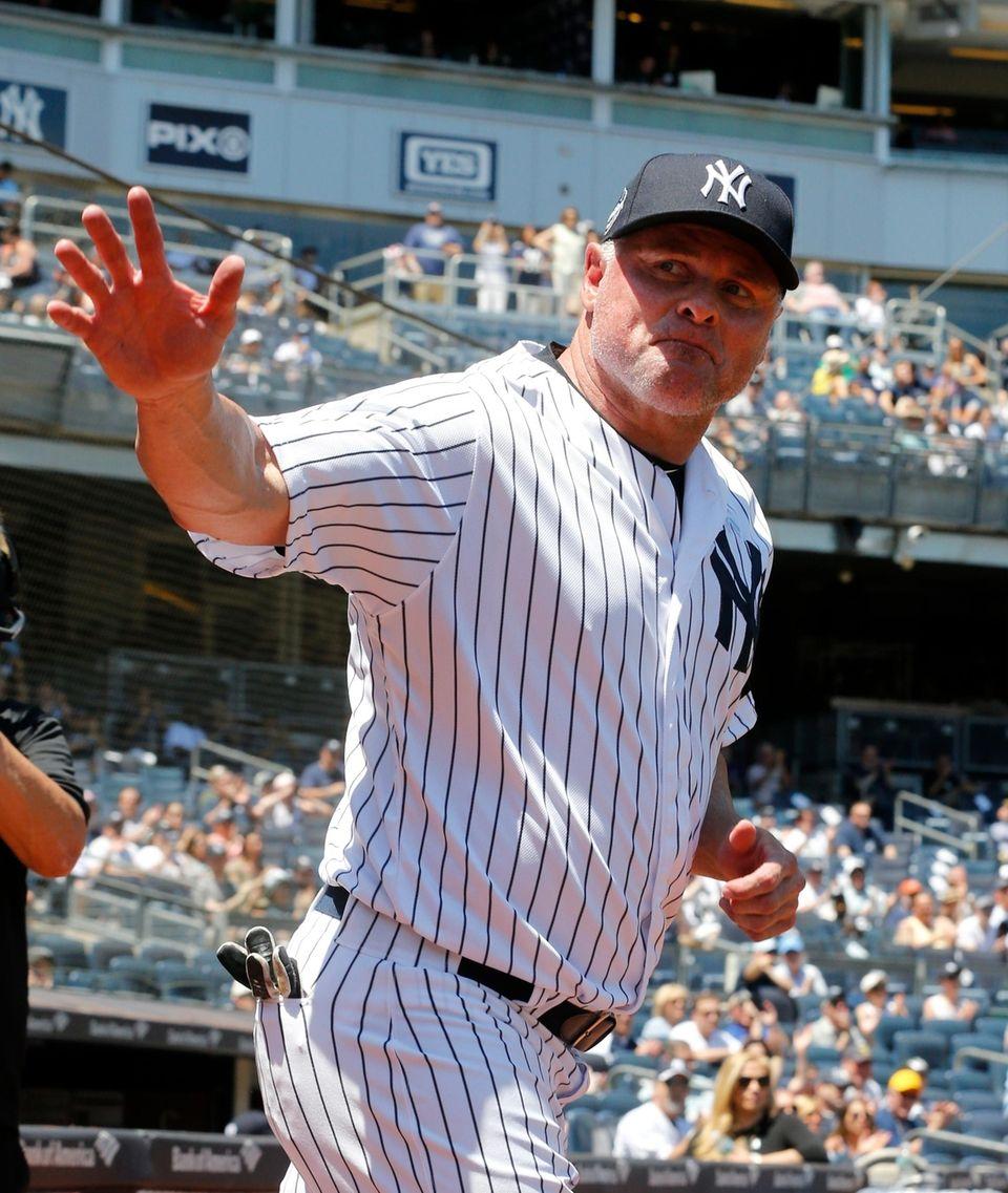 Jason Giambi during Old-Timers' Day at Yankee Stadium