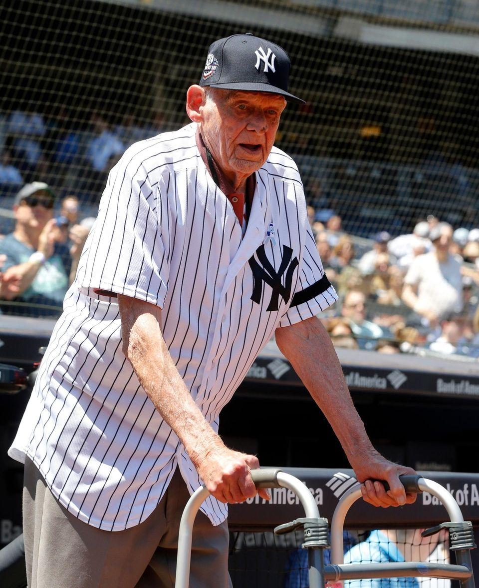 Don Larsen during Old-Timers' Day at Yankee Stadium