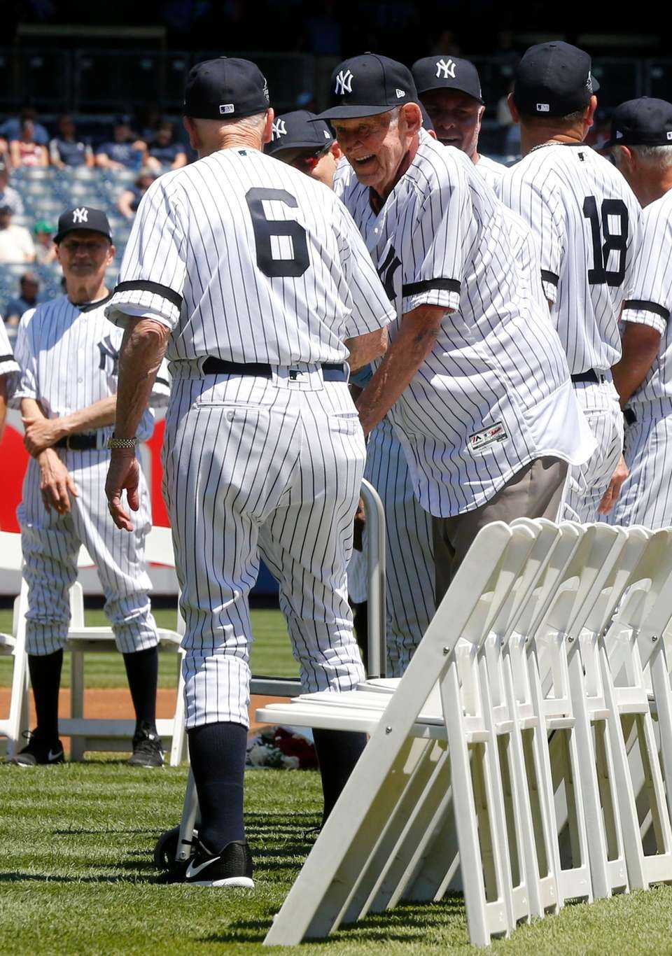 Don Larsen greets Dr. Bobby Brown during Old-Timers'