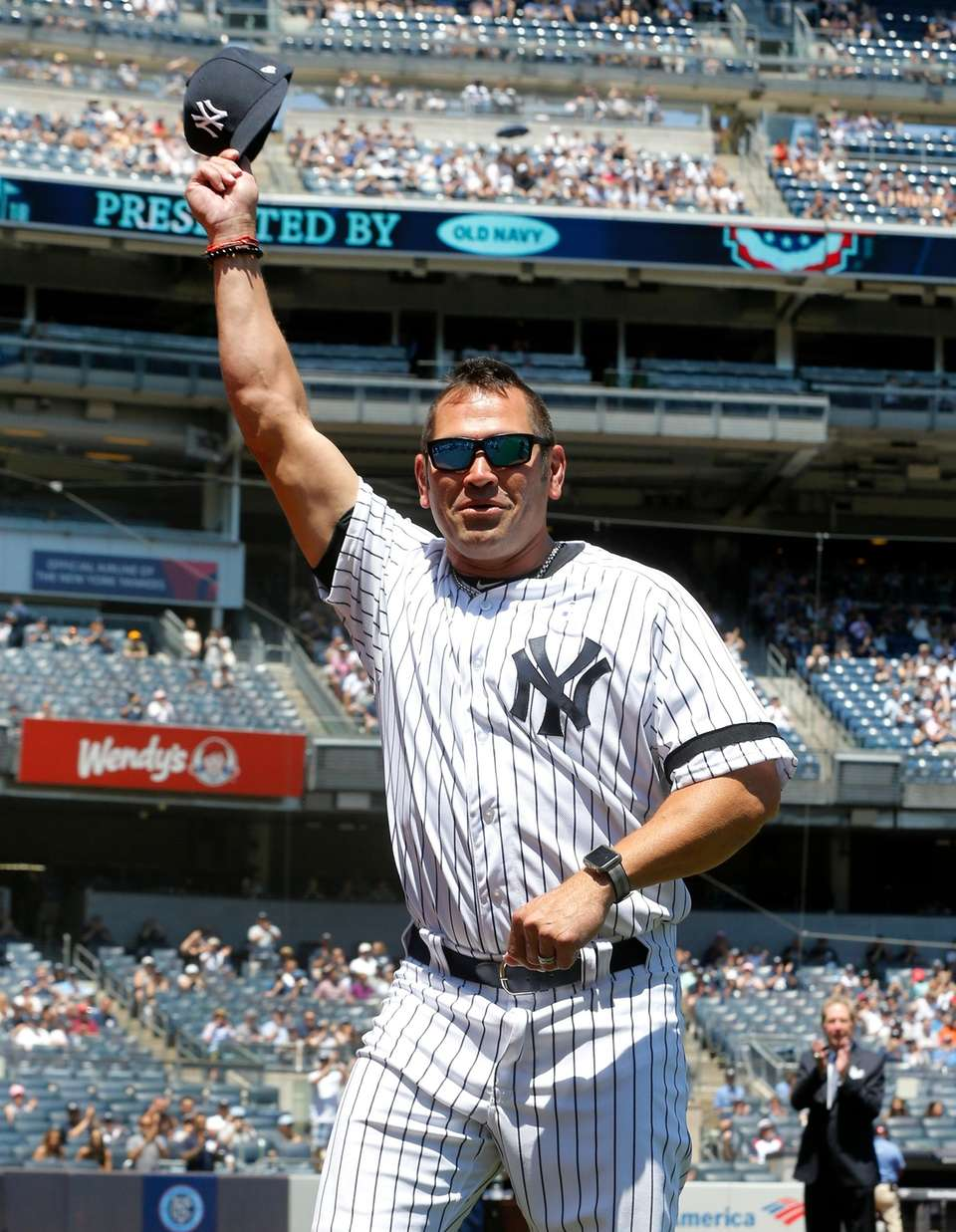 Johnny Damon during Old-Timers' Day at Yankee Stadium