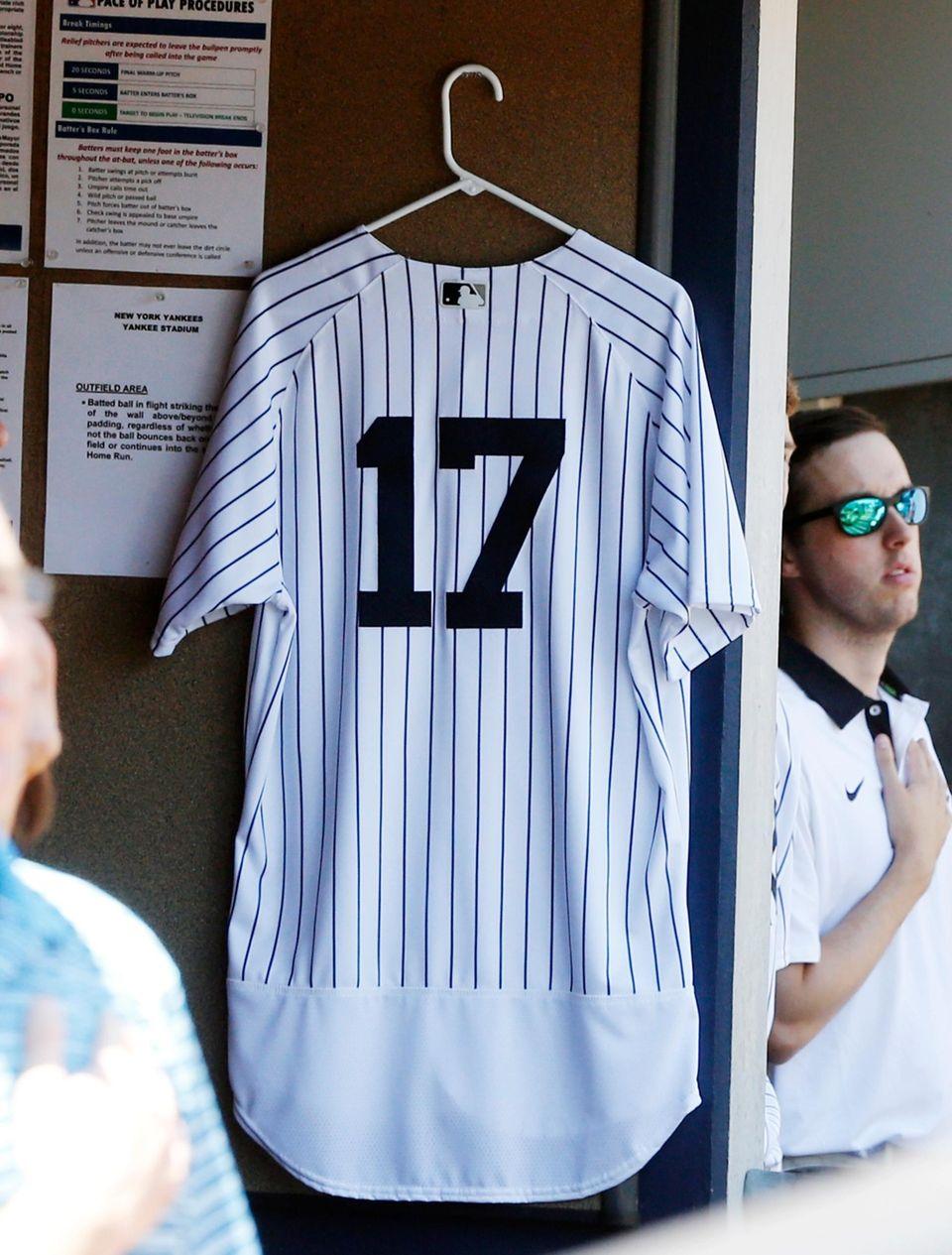 The uniform of the late Gene Michael hangs