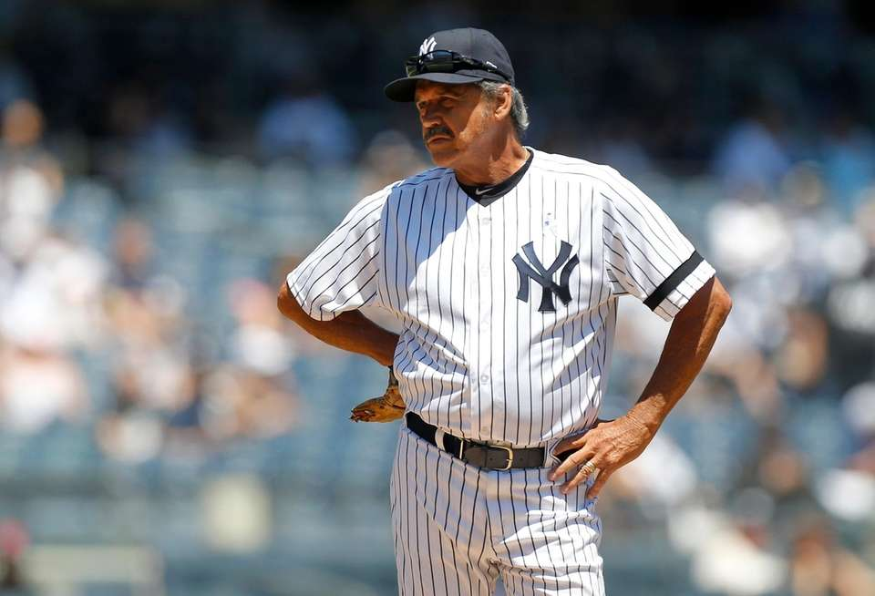 Ron Guidry during Old-Timers' Day at Yankee Stadium