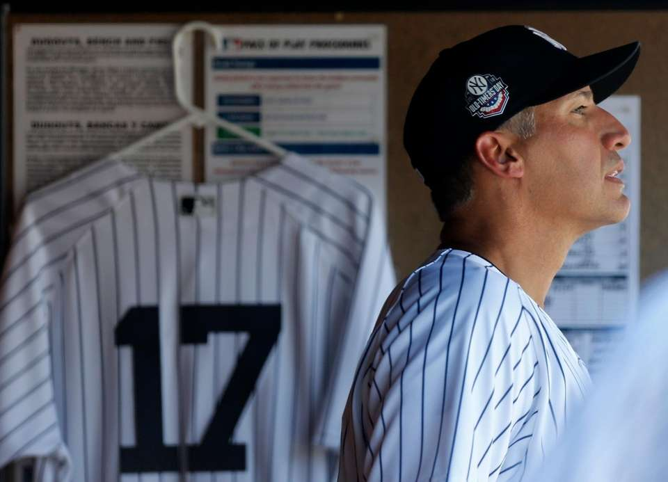 Andy Pettitte during Old-Timers' Day at Yankee Stadium