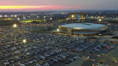 An aerial view of NYCB Live's Nassau Coliseum,
