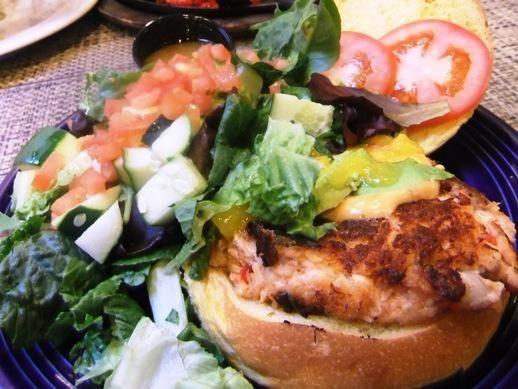 Salmon avocado burger at Laguna Grille in Woodbury