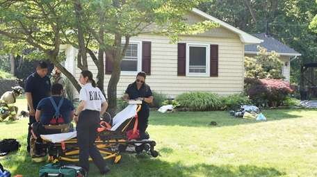 A firefighter is evaluated at scene of fatal