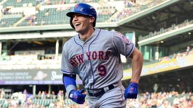 Brandon Nimmo of the Mets smiles as he