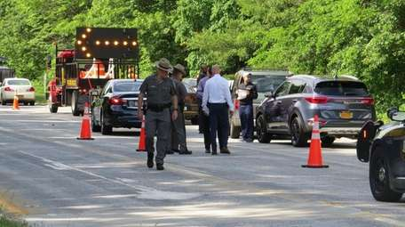 State Police investigate a crash Tuesday on the