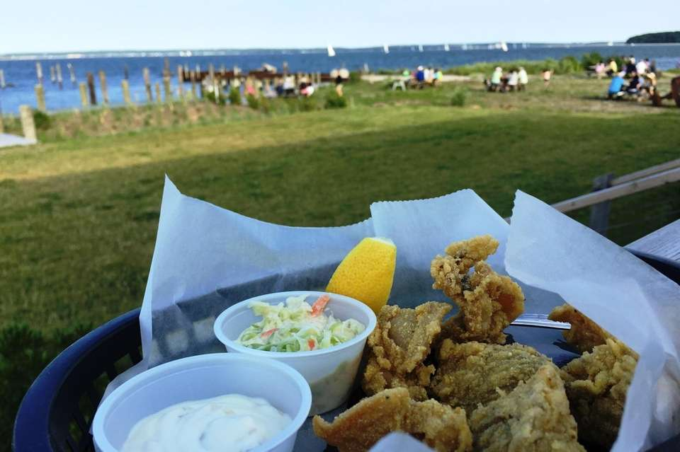 Fried clams on the patio at Case's Place