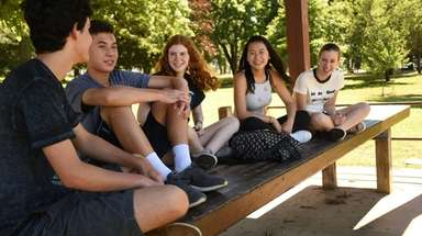 From left: Friends and classmates Aiden Lefebvre, 15,
