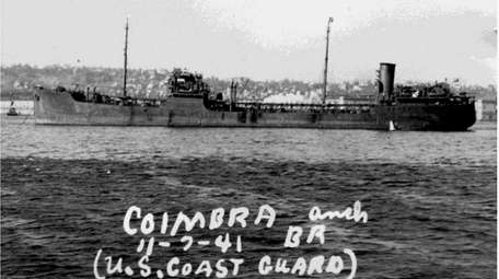 The British oil tanker Coimbra is seen in