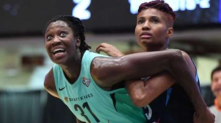 Liberty center Tina Charles readies for a rebound