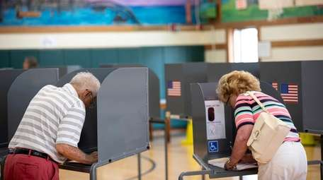North Bellmore residents cast their ballots during the