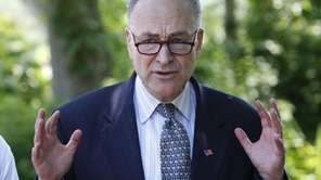 Senator Charles E. Schumer, speaks at Nissequogue River