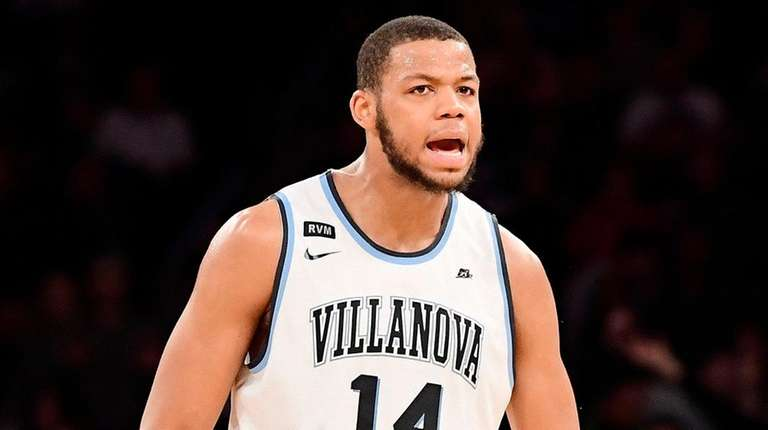 Omari Spellman of the Villanova Wildcats reacts against