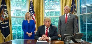 President Donald Trump with Homeland Security Secretary Kirstjen