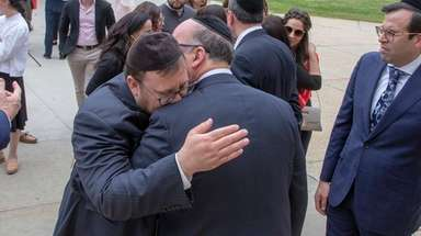 Relatives of Elisheva Kaplan and Yisroel Levin gather