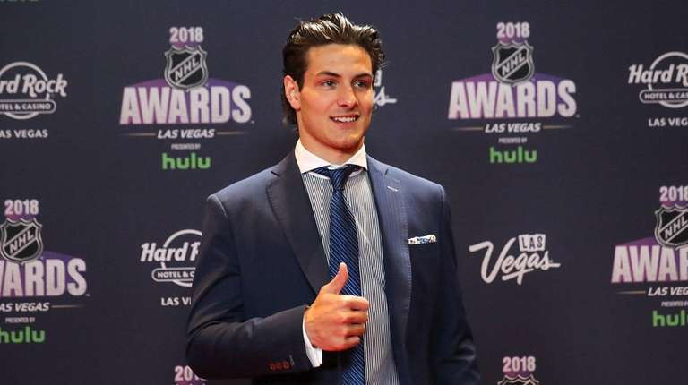 Mathew Barzal of the Islanders arrives to the